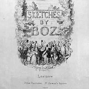 Lower part of the cover of an early edition of Sketches by Boz, showing John Macrone as the publisher from his new St. James's Square offices.