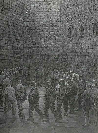 Prisons in Newgate prison exercise yard. Illustration by Gustave Dore from 1872.