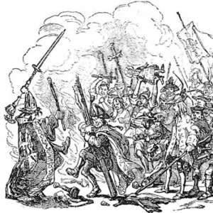A scene of rioting, an illustration from the Charles Dickens novel Barnaby Rudge.