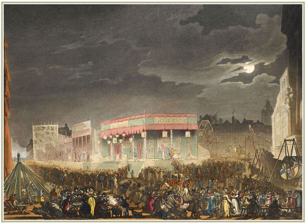 Bartholomew Fair in London's Smithfield area, seen at the beginning of  the 19th century. The large crowd can be seen enjoying a variety of  entertainments including swings, a big wheel, a menagerie and  Richardson's travelling theatre in the centre. Published in Microcosm of  London (1808-10)