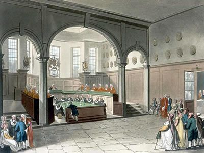 Engraving of the Doctors' Commons published in 1808.